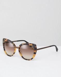 Большие солнцезащитные очки кошачий глаз в черепаховой оправе Marc By Marc Jacobs - Коричневый