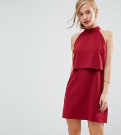 Двухслойное платье с высоким воротом ASOS PETITE - Красный