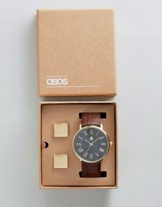 Подарочный набор с часами и запонками ASOS - Коричневый