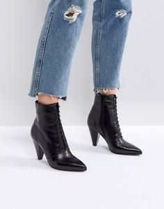 Кожаные ботинки на шнуровке ASOS - Черный