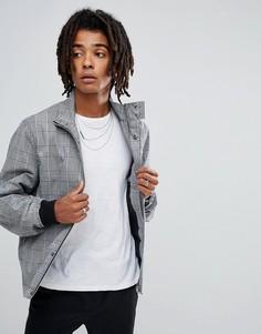 Куртка Харрингтон в черно-белую клетку ASOS - Черный