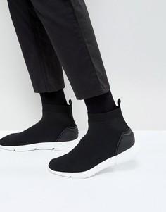 Черные трикотажные кроссовки-слипоны с манжетой в стиле носка ASOS - Черный