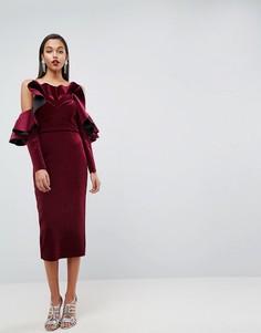Бархатное платье миди с длинными рукавами ASOS RED CARPET - Красный