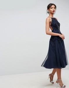 Платье миди на бретелях с открытой спиной и бисерной отделкой ASOS - Мульти