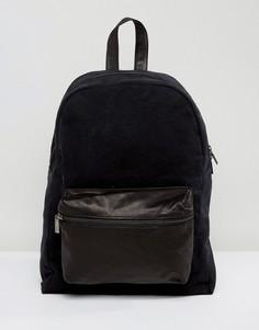 Рюкзак с кожаным карманом спереди Hymn - Черный