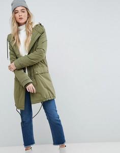 Пальто с воротником из искусственного меха Parka London Karin - Зеленый