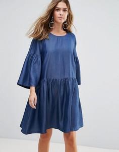 Платье с рукавами клеш Just Female Wang - Синий