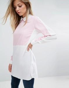 Контрастная удлиненная рубашка Ax Paris - Синий
