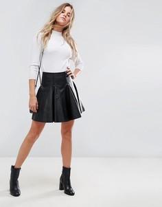 Расклешенная кожаная мини-юбка ASOS - Черный
