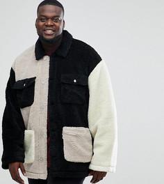 Светло-бежевая куртка в стиле пэтчворк из искусственного меха ASOS PLUS - Бежевый