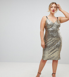 Платье на бретелях с пайетками Club L Plus - Золотой