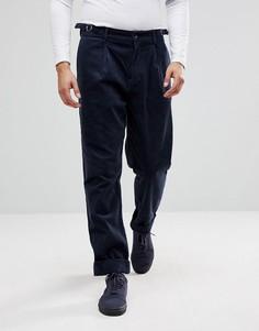 Темно-синие вельветовые брюки со складками ASOS - Темно-синий