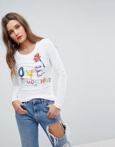 Лонгслив с логотипом Love Moschino - Белый