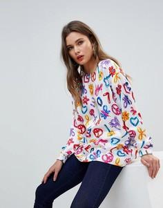 Блузка с принтом логотипа Love Moschino Balloons - Белый