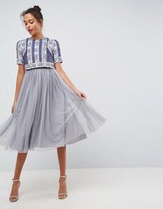 Платье миди с цветочной отделкой и юбкой из тюля ASOS - Черный