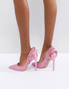 Туфли-лодочки на каблуке с оборкой сзади River Island - Розовый