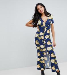 Синее чайное платье макси с цветочным принтом и V-образным вырезом на пуговицах ASOS TALL City - Синий