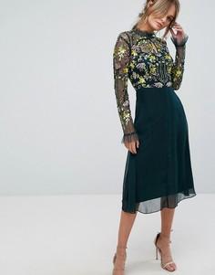 Платье миди 2-в-1 с разноцветной отделкой Frock and Frill - Зеленый