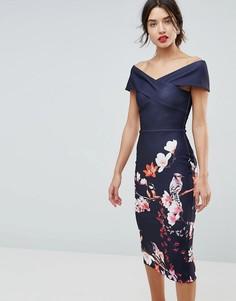 Облегающее платье с цветочным принтом True Violet - Темно-синий