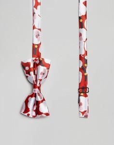 Галстук-бабочка с новогодним принтом Санта-Клауса 7X - Красный