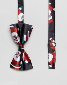 Галстук-бабочка с новогодним принтом Санта-Клауса 7X - Синий