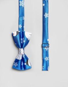 Новогодний галстук-бабочка с принтом 7X - Синий