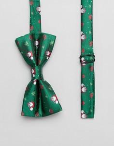 Галстук-бабочка с новогодним принтом 7X - Зеленый