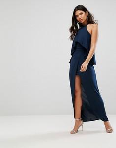 Платье макси с высоким воротом и оборкой Girl In Mind - Темно-синий