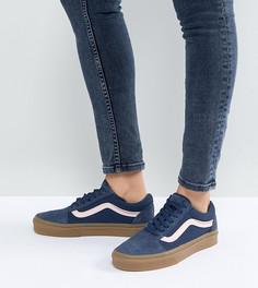 Синие замшевые кроссовки в стиле унисекс на резиновой подошве Vans Old Skool - Синий