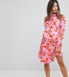 Платье мини с воротником поло и цветочным принтом ASOS Maternity - Мульти