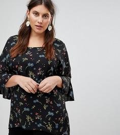 Блузка с рукавами клеш и цветочным принтом Koko - Мульти