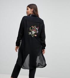 Удлиненная рубашка с вышивкой Koko - Черный