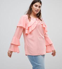 Блузка с длинными рукавами и оборками Koko - Розовый