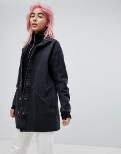 Выбеленная черная джинсовая куртка с рукавами летучая мышь ASOS - Черный