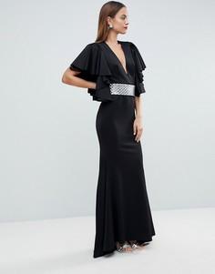 Платье макси с глубоким вырезом и оборками на рукавах ASOS RED CARPET - Черный