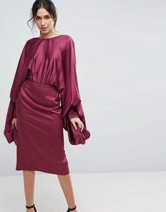 Атласное платье-футляр миди с удлиненными рукавами ASOS - Фиолетовый