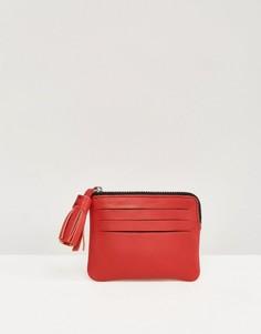 Кожаный кошелек для монет с кисточкой ASOS - Красный
