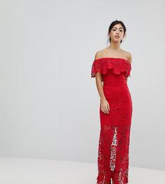 Платье макси с открытыми плечами и оборками Paper Dolls Petite - Красный