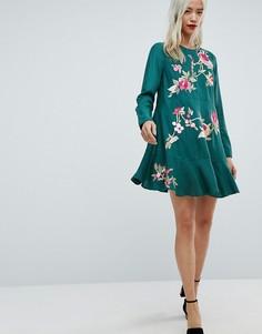 Платье мини с вышивкой и заниженной талией ASOS - Мульти