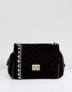 Бархатная сумка через плечо с жемчужной отделкой Marc B Knightsbridge -  Черный 749090b2fc8