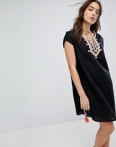 Пляжная накидка с вышивкой из ткани с добавлением льна Seafolly - Черный