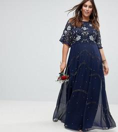 Декорированное платье макси с рукавами клеш ASOS CURVE Wedding - Синий