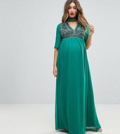 Декорированное платье макси с V-образным вырезом ASOS MATERNITY - Зеленый