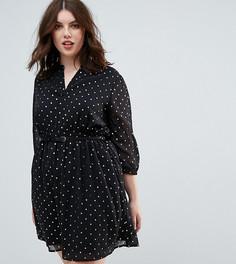 Платье с отделкой заклепками на поясе и звездным принтом Yumi Plus - Черный