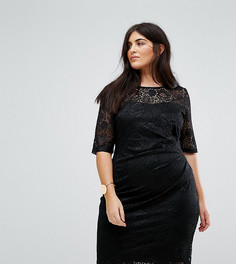 Кружевное платье со сборками по бокам Yumi Plus - Черный