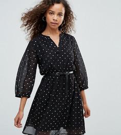 Платье с блестящим звездным принтом и ремнем Yumi Petite - Черный