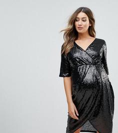Платье миди с запахом и пайетками TFNC Maternity - Черный