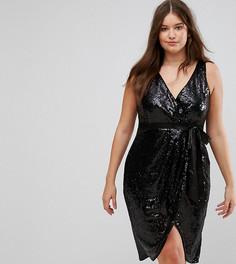 Платье миди с запахом и пайетками TFNC Plus - Черный