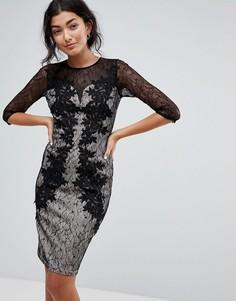 Кружевное платье с рукавами 3/4 Little Mistress - Черный