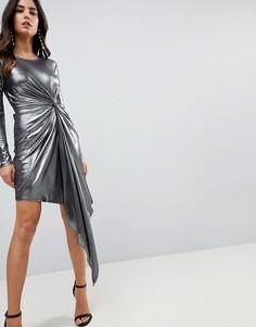 Облегающее платье мини металлик ASOS - Серебряный